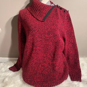 """Chaps Size 1X Red Black Sweater Length  28"""""""